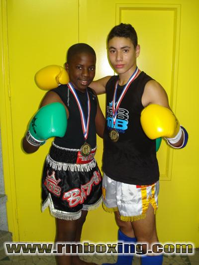 Nos deux Deux jeunes Champions Educatif Sadio bathily et imad soukal du rmboxing son devenu champion de france éducatif à japy